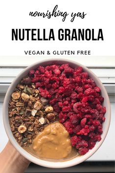 Vegan & Gluten Free Nutella Granola | Nourishing Yas - Simple Plant Based Recipes  #breakfast #granola #nutella #vegan #veganrecipes #healthyrecipes #chocolate #baking #glutenfree #plantbased