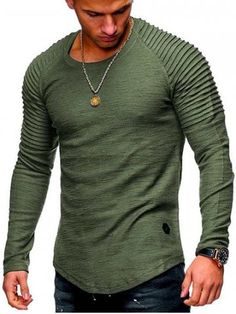 Solid Color Sleeve Pleated Patch Detail Long Sleeve T-shirt - Dark Gray - - Men's Clothing, Men's Tops & T-Shirts, Men's T-Shirts # # Cool Shirts, Casual Shirts, Tee Shirts, Denim Shirt Men, Mens Clothing Styles, Men's Clothing, Mens Sweatshirts, Long Sleeve Shirts, Menswear