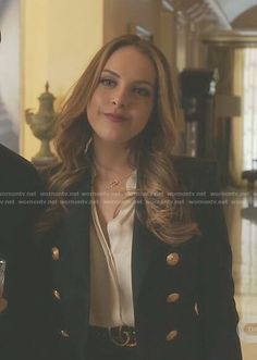 Fallon's navy double breasted blazer on Dynasty.  Outfit Details: https://wornontv.net/80767/ #Dynasty