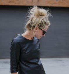 leather top + messy bun.
