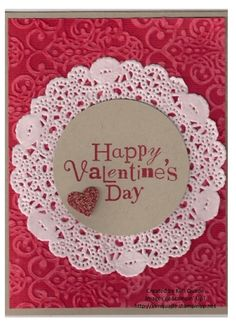 Happy Valentine's Day using Stampin' Up!'s Core'dinations card stock, paper doilies, Wacky Wishes, and red glimmer paper. Enjoy!