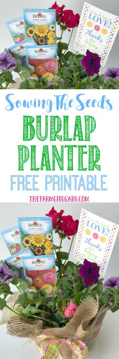 Spread some love and cheer with this Sowing The Seeds Burlap Planter And Printable. It's a perfect gift for Mother's Day or Teacher Appreciation.