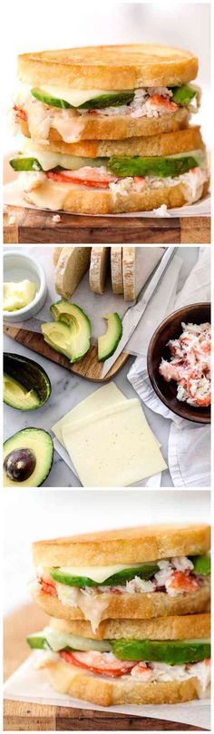 Crab and Avocado Grilled Cheese Sandwich #recipe on foodiecrush.com…