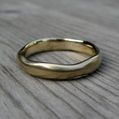 Organic Mens Wedding Band In White Yellow Or Rose Gold