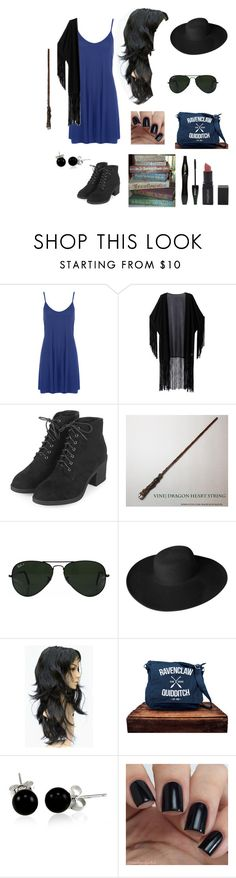 """""""Ravenclaw Back to School"""" by an-internet-girl ❤ liked on Polyvore featuring WearAll, WithChic, Topshop, Ray-Ban, Dorfman Pacific, Bling Jewelry, Lancôme, Smashbox, BackToSchool and harrypotter"""
