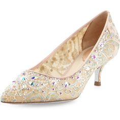 Rene Caovilla Crystal-Embellished Lace Low-Heel Pump ($1,325) ❤ liked on Polyvore featuring shoes, pumps, multi, mid-heel shoes, pointed toe shoes, pointy toe pumps, glitter pumps and rene caovilla shoes