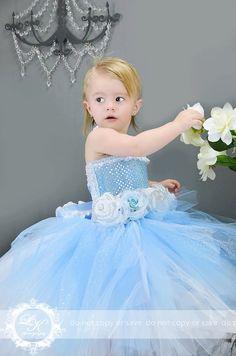 Disney Inspired Cinderella Costume Tutu  Dress 12 Month 2 Toddler. $95.00, via Etsy.