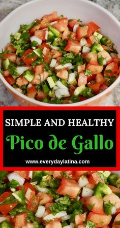 Fresh and spicy pico de gallo salsa is a great addition to any Mexican dish. Plus it is compliant and uses vinegar instead of lime. Pico de gallo is a simple and healthy Mexican salsa made with all fresh ingredients. Mexican Salsa Recipes, Mexican Dishes, Poulet Hasselback, Clean Eating Snacks, Healthy Eating, Healthy Mexican Food, Salsa Guacamole, Guacamole Recipe, Catering