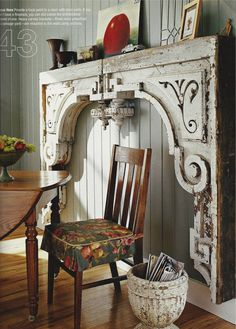 Two very large wood corbels paired to make a fireplace surround - salvage yard find! From BHG Faux Fireplace, Fireplace Surrounds, Fireplaces, Fireplace Mantle Headboard, Antique Fireplace Mantels, Bg Design, House Design, Interior Design, Architectural Salvage