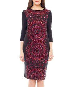 Take a look at this 4Lilou: Black & Red Printed Midi Dress by 4Lilou on #zulily today!