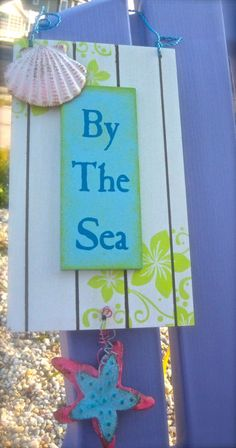 By The Sea Sign by Gypseanurse on Etsy on imgfave Beach Art, Ocean Beach, Beach Crafts, Diy Crafts, Deco Marine, I Love The Beach, Beach Signs, Am Meer, Beach Cottages