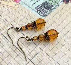 Topaz Earrings Victorian Earrings Yellow Earrings by SmockandStone