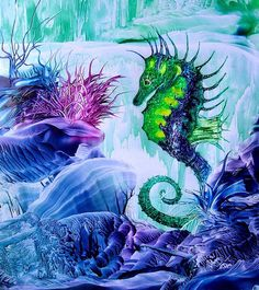 Baby seahorse Painting  - Baby seahorse Fine Art Print