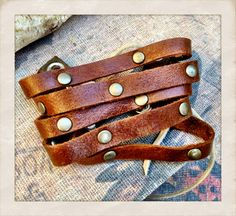 SALE brown leather lace up cuff bracelet with bronze by TornTo, $22.00