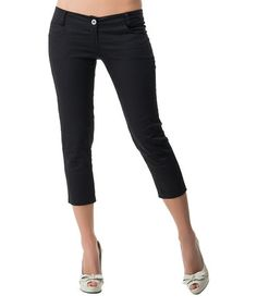 Another great find on #zulily! Black Classic Capri Pants #zulilyfinds