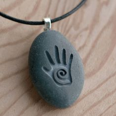 Healing Hand - Tiny PebbleGlyph (C) necklace - engraved stone necklace by sjEngraving