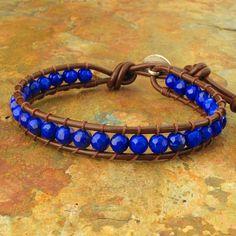 Lapis Lazuli tailandés Hill tribu pulsera de cuero plateado - azul