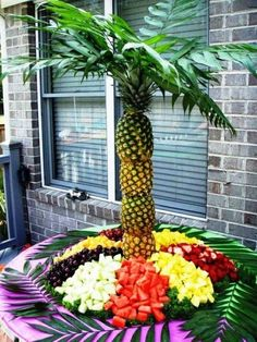 Maybe from a pineapple palm tree buffet!? | 16 Ideas For Amazing Fruit Salads