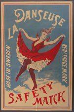 SWEDEN DANSEUSE LA Tändsticksaskar BEAUTIFUL GIRL IN RED DRESS  FROM 1900- 1930'S)SVERIGE danseuse LA Tändsticksaskar vacker flicka i röd klänning FRÅN 1900- 1930-talet