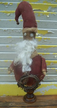 Christmas Primitive Santa with Wreath Makedo by Rabbithollowprims, $24.95