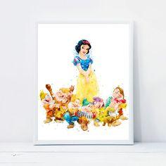 Snow White and Seven Dwarfs Print Disney Princess Seven Dwarfs | Etsy Printable Art, Printables, Seven Dwarfs, Nursery Art, Snow White, Watercolor, Wall Art, Disney Princess, Digital