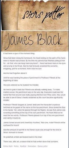 Sirius Potter and James Black, because family isn't always blood
