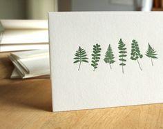 Letterpress Fern Cards, Pack of 6