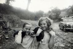 Two young girls holding cats on their shoulders