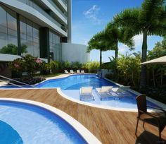 O edifício também tem piscina infantil, piscina adulto e deck.