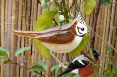 Fused glass cested tit bird lover gift garden birds