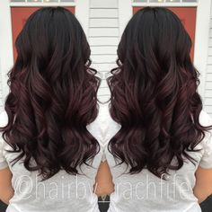 Deep plum ombre. Custom color. Colormelt purple ombre.  Tina's comments: beautiful winter color, maybe a deep red-plum balayage?