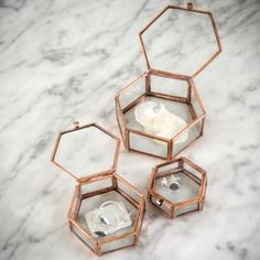 Pretty little set of three hexagonal copper and glass boxes. These are rustic and imperfect by nature, but perfect for storing your jewellery keepsakes.