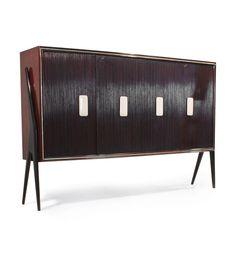 Paolo Buffo; Mahogany, Ebonized Wood and Alabaster Cabinet, 1950s.