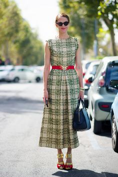 We Dare You To Do Fancy All Day    A vintage-look long gown gets modernized with statement heels and a bowling bag.