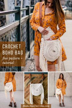 Made from richly textured circles, this fringed crochet bag pattern comes togeth. This crochet pattern with fringes of richly textured circles consists of three funny parts. Complete it with crocheted details or add a wooden button . Diy Crochet Bag, Crochet Purse Patterns, Crochet Clutch, Crochet Handbags, Crochet Purses, Crochet Style, Make And Do Crew, Mochila Crochet, Armband Diy