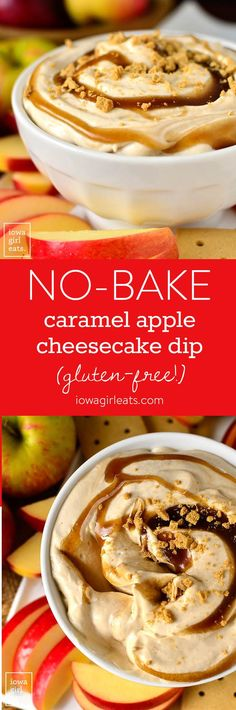 No-Bake Caramel Apple Cheesecake Dip is absolutely luscious! Dig into this whippy, 3-ingredient dip recipe with fresh apples and graham crackers. It is such a treat! | iowagirleats.com