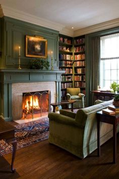 Living Room Ideas Classic - Comfortable Master Living Room For Winter - Living Room Furniture & Ideas Winter Living Room, Living Room With Fireplace, Cozy Living Rooms, My Living Room, Living Room Furniture, Library Fireplace, Furniture Nyc, Furniture Stores, Vintage Living Rooms
