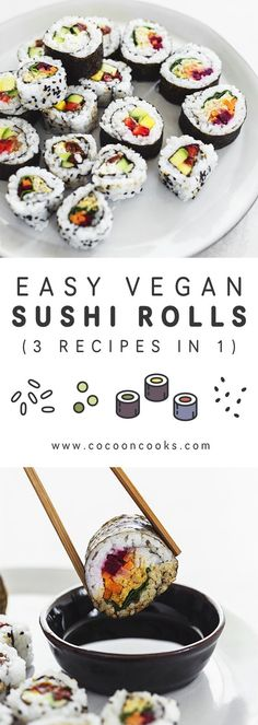 Learn how to make vegan sushi at home with these 3 simple sushi roll recipes. Learn how to make vegan sushi at home with these 3 simple sushi roll recipes. plant-based, very easy and quick to prepare. Sushi Vegan, Vegan Sushi Rolls, Sushi Roll Recipes, Vegan Foods, Vegan Snacks, Vegan Dinners, Easy Sushi Rolls, Vegan Recipes Easy, Vegetarian Recipes
