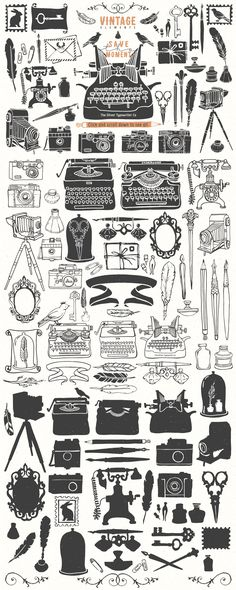 Vintage hand drawn illustrations by kite-kit on @creativemarket
