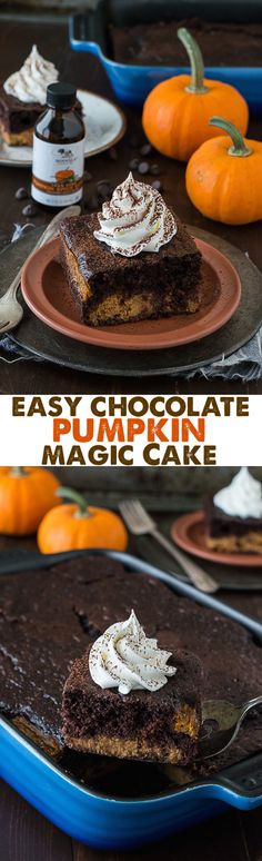 Easy Chocolate Pumpkin Magic Cake with a pumpkin pie layer and a chocolate cake…