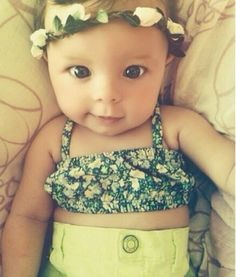 Flower crown. Crop top. High waisted shorts. Chubby baby belly. Love everything about this. ♡