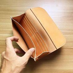 Handmade leather folded wallet vintage long wallet clutch phone purse wallet for women men #walletsforwomen