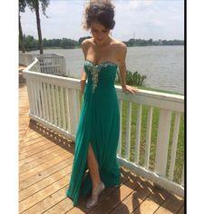 Chiffon Prom Dress,Side Slit Long Prom Dresses,Beaded Prom