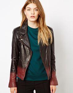 Barneys Originals Dip Dyed Leather Biker Jacket