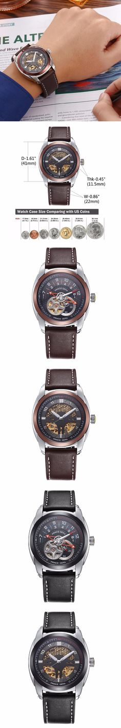 PRINCE GERA Men's Mechanical Automatic Watches Fashion Unique Skeleton Casual Wristwatch Leather Bands Waterproof Reloj