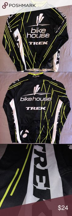 Bike House Trek Team Cycling Jersey (MD) Bike House Trek team men's long-sleeved cycling jersey. Size medium, race-fit. Designed, made by Colombia-based performance cycling apparel company Zerie -- also home to Bike House. Great tri-color design with hi-viz white mesh vent panels. Firm mock collar, 3/4-zip, open cuffs & 3 roomy back pockets. Slightly worn -- great condition. MSRP $120. Zerie Jackets & Coats Performance Jackets