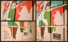 Canvas drop cloth + ceiling tiles + some paint = map of the world!