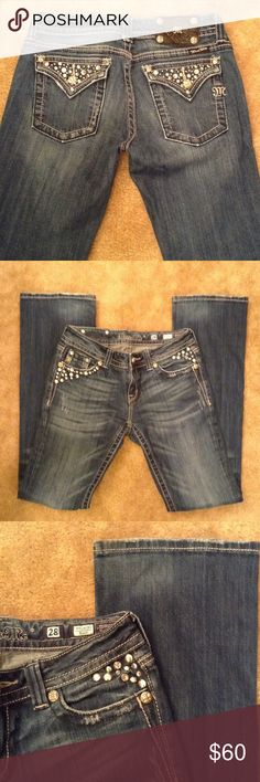 Miss Me Jeans Miss Me Bootcut Jeans with rhinestones and studs. Inseam 34 inches. 98% cotton, 1% elastin. Good condition. Miss Me Jeans Boot Cut