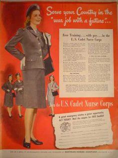 1940s Vintage U s Cadet Nurse Corps WWII Kotex Feminine ...