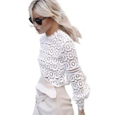 Womens Elegant Floral Lace Blouse Shirt Women Lantern Sleeve White Blouse 2016 Autumn Winter Hollow Out Short Top Blouses Blusas-in Blouses & Shirts from Women's Clothing & Accessories on Aliexpress.com   Alibaba Group